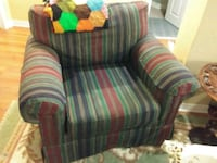 red and green striped fabric sofa chair Ottawa, K2G 3C4