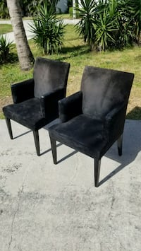 two black suede padded chairs Boca Raton, 33431