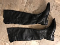 Like New Zara Over the knee Women's Black Leather Boots SZ-38 - $70 Port Coquitlam