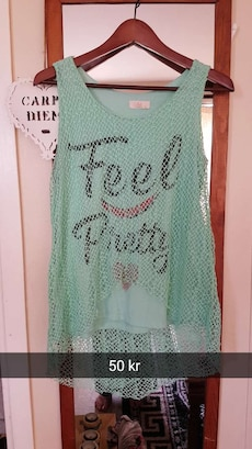 Teal Feel Pretty printed mesh scoop nakke ermeløs skjorte