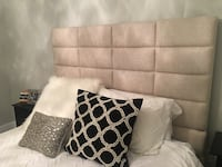Padded-linen, ivory bed frame (queen size bed) Boston