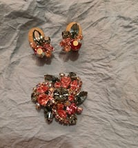 Sparkly broach and clip on earrings