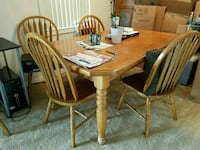 Oak wooden table with six chairs Largo, 33778