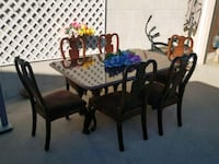 rectangular brown wooden table with six chairs dining set Ventura, 93003