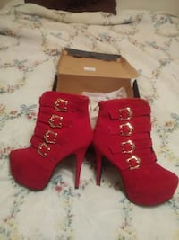 red suede harness boots with box