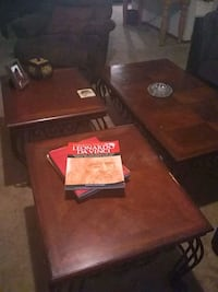 brown wooden / cast iron coffee & and table Midwest City, 73130
