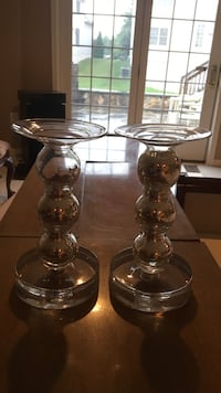 two clear glass candle holders Ashburn