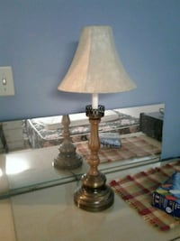 brass base white shade table lamp Burnaby, V3J 1H5