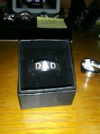 "silver ""DAD"" engraved ring size 10 or 11, new, gift bag/box"