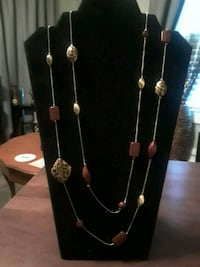 Goldtone and brown double strand necklace  Kannapolis