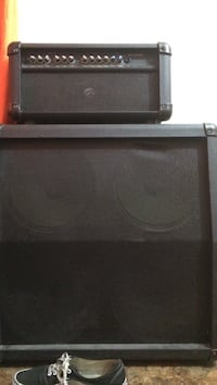 black amplifier and PA speaker; black Vans Authentic Marana, 85741