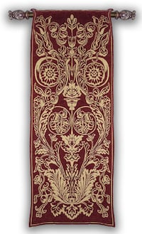 SET: BELGIAN TAPESTRY WITH ROD AND FINIALS Herndon