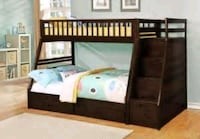 brown wooden bunk bed with mattress Rowland Heights