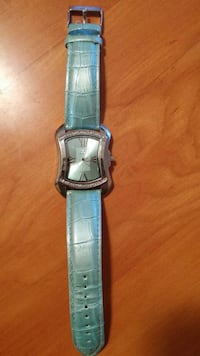 blue leather strap silver analog watch Kingston, 37763