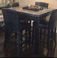 rectangular brown wooden table with six chairs din 3153 km