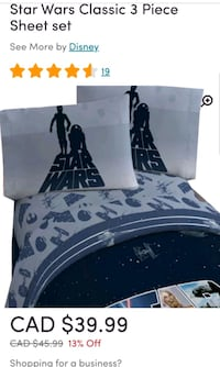 Disney Star Wars twin sheet set and Full/Double set available