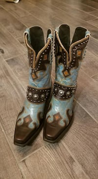 Turquoise ad Brown Old Gringo cowboy boots women size 8  Thornton