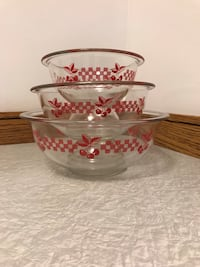 Rare Pyrex Red Cherry Gingham Clear Mixing Bowls  Calgary, T2W 2H5