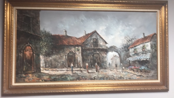 painting of house with brown wooden frame