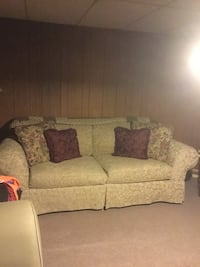 Brown floral fabric 2-seat sofa Troy, 12180