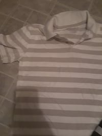 white and brown striped polo shirt