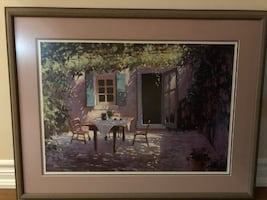 Hidden Courtyard Café Scene Framed Art.