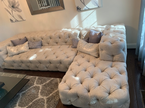 $4350 This weekend only!!-Restoration Hardware Soho Tufted Right Arm Sofa Chaise Sectional 1032dc08-9333-4e7e-9274-bcaed8f8e234