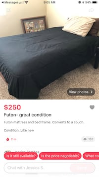 Futon bed wood frame & mattress set complete like new
