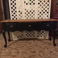 brown wooden 2-drawer console table