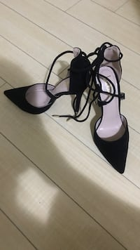 Pair of black pointed-toe ankle strap heels Burnaby, V3N 0A8