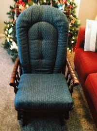 blue and brown wooden rocking chair