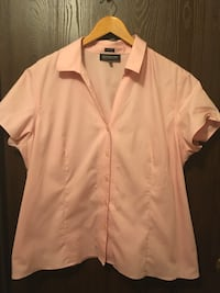 Plus Size Pink Classic Short Sleeve Dress Shirt