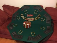 Foldable poker/blackjack card game table top w/carrying bag and poker chips Virginia Beach, 23452