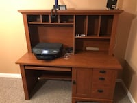 brown wooden computer desk with hutch Bensville, 20603