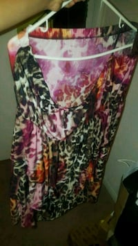 black, white, and pink floral sleeveless dress Houston, 77038