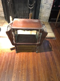 Brown wooden 2-tier side table