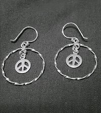 Sterling Silver Hoops with Peace Symbol earrings  Baltimore, 21224