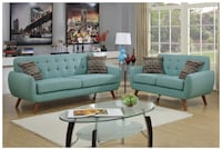 Poundex F6914 Bobkona Sonya Linen-Like 2 Piece Sofa and Loveseat Set, Laguna Reston, 20190