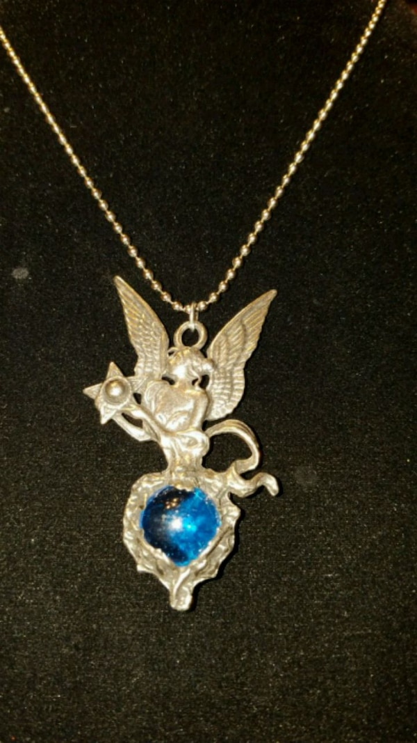 Fairy necklace with blue glass