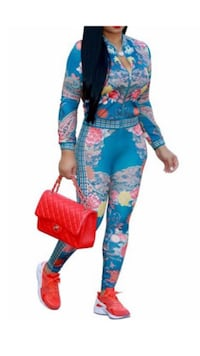 blue, pink, yellow, and red floral long sleeve jumpsuit Toronto