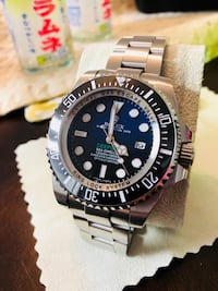 round silver-colored Rolex analog watch with link bracelet 黑鑽石, 98010