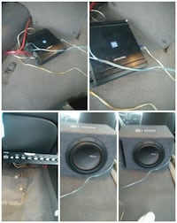 gray and black speaker and amplifier