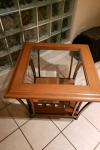 End table wooden and glass