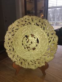 """Chinese soapstone plate 12"""" diameter with rosewood stand"""