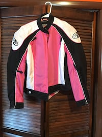 black, white, and pink zip-up jacket Folsom, 08094