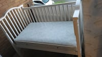 white wooden bed frame with white mattress Pittsburgh, 15216