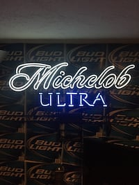 White and blue michelob ultra neon sign Waltham