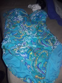 girl's mblue, teal, yellow, and white swimsuit 2345 mi