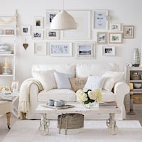 WHITE LOVESEAT AND END TABLES AND A BROWN LOVEASEAT AND END TABLES Pickering