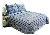 French Blue Floral Printed Bedding 3 Piece / Bedspread Quilt Set, Queen Markham